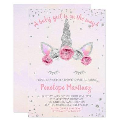 Pink Silver Unicorn Face Baby Shower Invitations