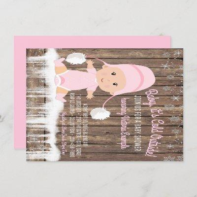 Pink Snowflake Baby its Cold Outside Baby Shower Invitation