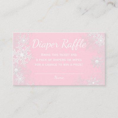 Pink Snowflake Diaper Raffle Tickets Enclosure Card