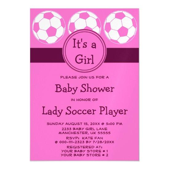pink soccer ball sports its a girl baby shower magnetic invitations