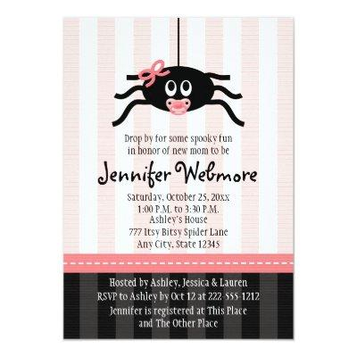 Pink Spider Halloween Baby Shower Invitations