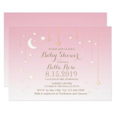 Pink star moon baby girl baby shower invitation