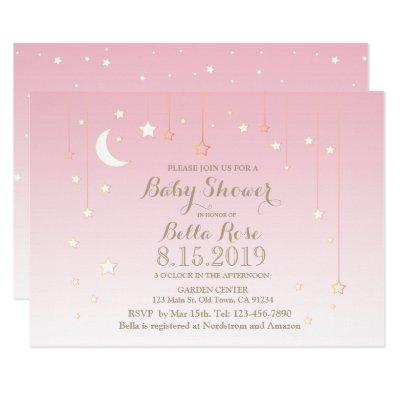 Pink stars moon girl baby shower invitations
