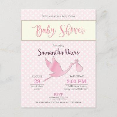 Pink Stork Baby Girl Baby Shower Invitations Postcard
