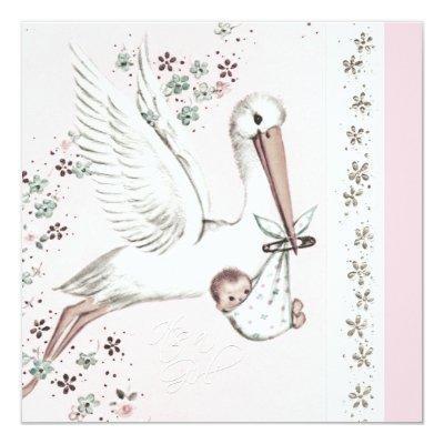 Pink Stork Baby Girl Shower Invitations