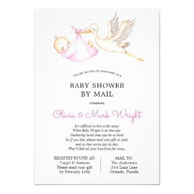 Pink Stork Baby Shower by Mail Invitation