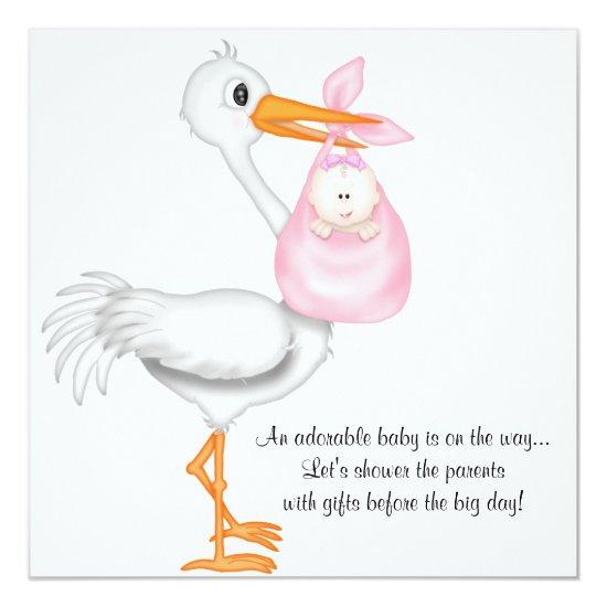 Pink stork baby girl baby shower invitations pink stork baby girl filmwisefo