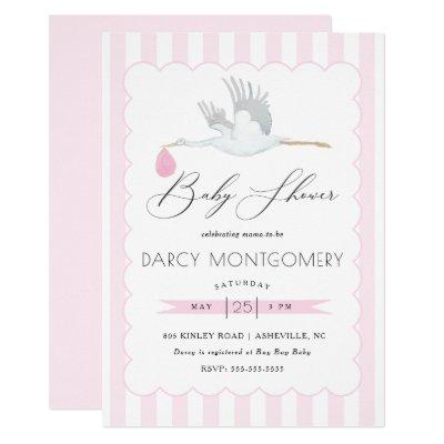 Pink Stork Baby Shower Invitation for Baby Girl