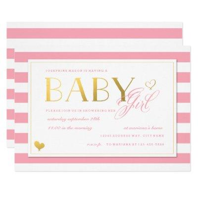 Pink Stripe Faux Gold Baby Girls Shower Invitations