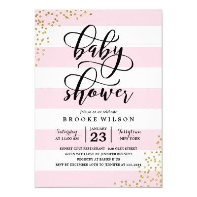 Pink Stripe Glitter Dots Baby Shower Invitation