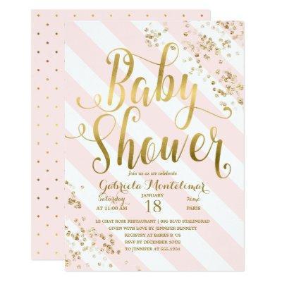 Pink Stripes Gold Glitter Confetti Baby Shower Invitation