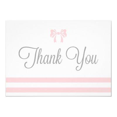 Pink Stripes with Bow Baby Shower Thank You Invitations