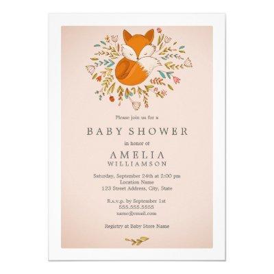 woodland fox baby shower invitation baby shower invitations | baby, Baby shower invitations