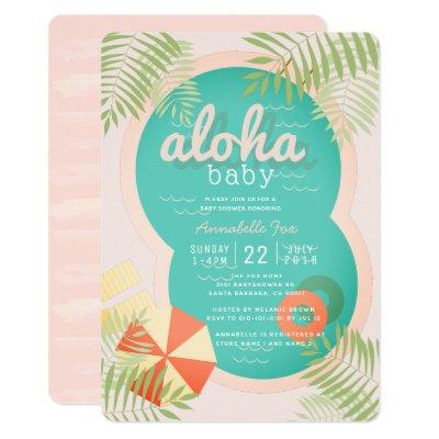 Pink Tropical Pool Aloha Baby Shower Invitations