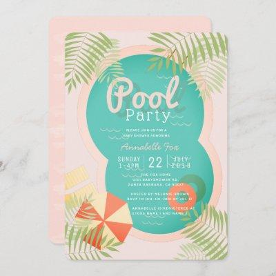 Pink Tropical Pool Party Baby Shower Invitation