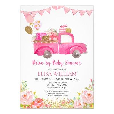 Pink Truck Drive by Shower Invitation
