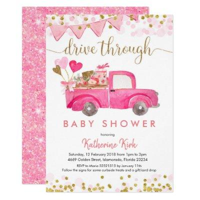 Pink Truck Drive Through Baby Shower Invitation