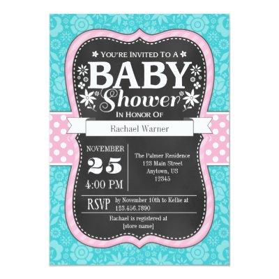 Pink Turquoise Chalkboard Floral Baby Shower Invitation