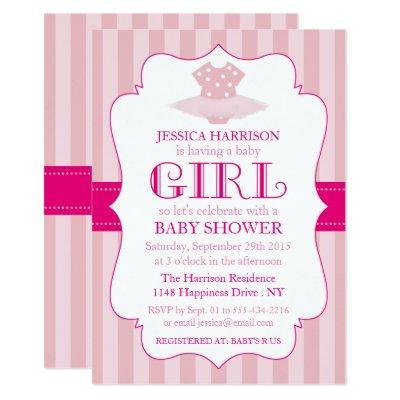 pink tutu ballerina girls invitations