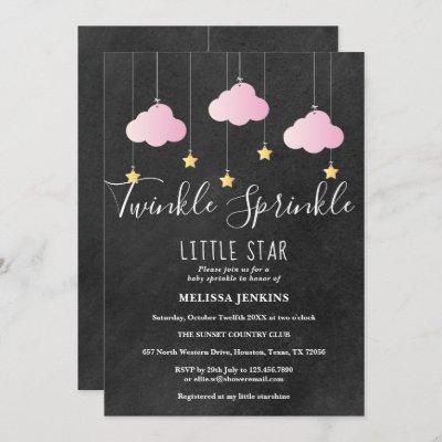 Pink Twinkle Sprinkle Baby Sprinkle Chalkboard Invitation