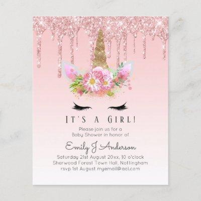 Pink Unicorn Rose Gold Dripping Glitter Baby Girl