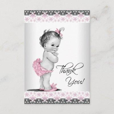 Pink Vintage Baby Girl Thank You