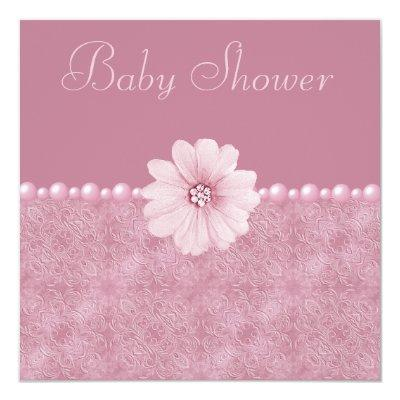 Pink Vintage Baby Shower Bling Flowers & Pearls Invitations