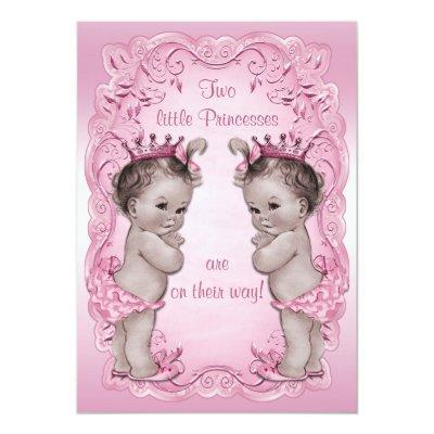 Pink Vintage Princess Twins Baby Shower Invitation