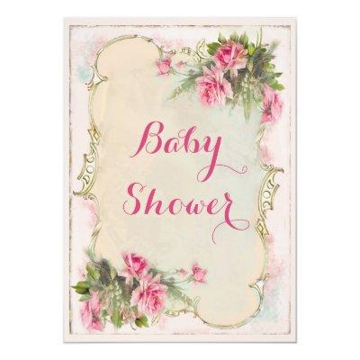 Pink Vintage Roses Shabby Chic Invitations