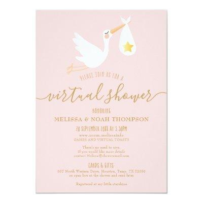 Pink Virtual Online Long Distance Baby Shower Invitation
