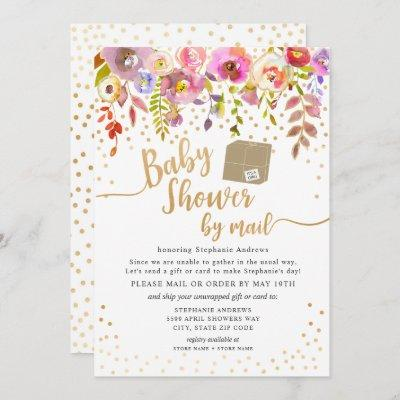 Pink Watercolor Floral Baby Shower by mail Invitation