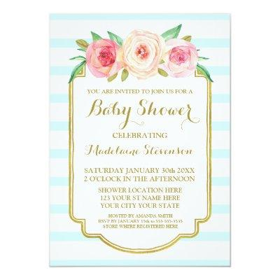 Pink Watercolor Floral Blue Stripes Baby Shower Invitation