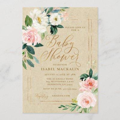 Pink Watercolor Floral Kraft Rustic Baby Shower Invitation