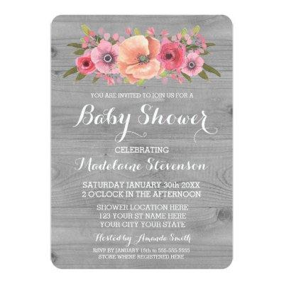 Pink Watercolor Floral Rustic Wood Baby Shower Invitations