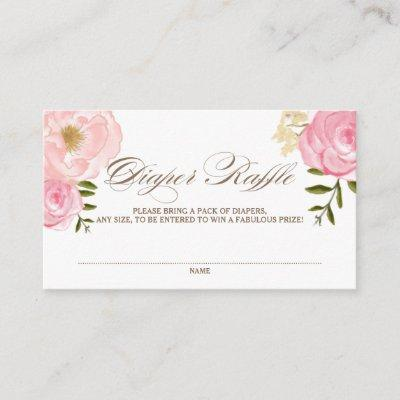 Pink Watercolor Flowers Baby Shower Diaper Raffle Enclosure Card