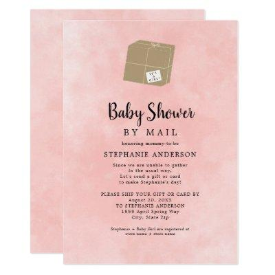Pink Watercolor Girl Baby Shower by mail Invitation