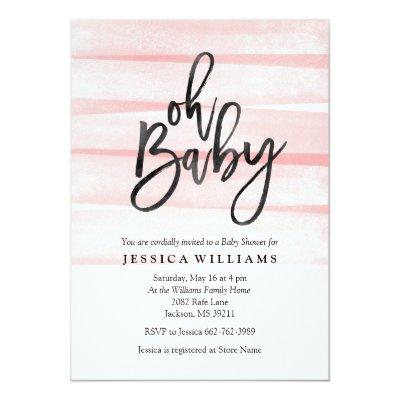 Pink Watercolor Gradient Oh Baby Shower Invitations
