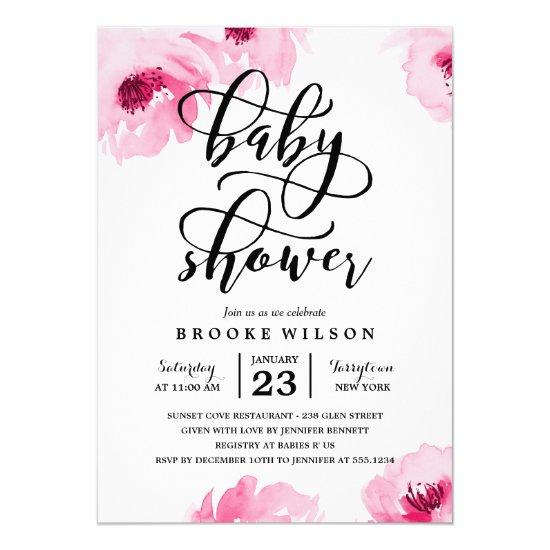 Pink Watercolor Roses Baby Shower Invitations