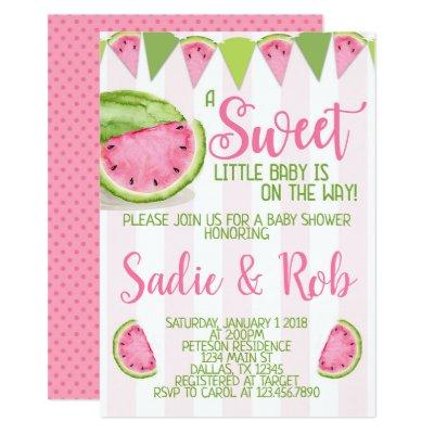 Pink Watermelon Baby Shower Invitation Invite