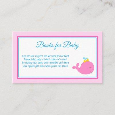 Pink Whale Baby Shower Book Request Card