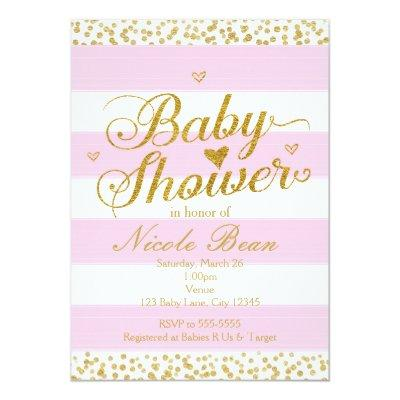 Pink White & Gold BABY SHOWER Girl Invitations