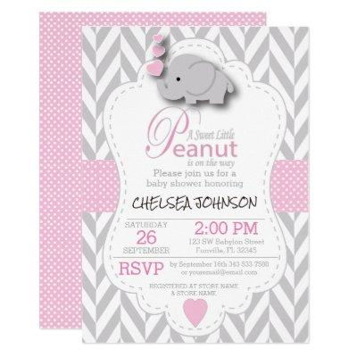 Pink, White Gray Elephant Baby Shower 2 Invitations