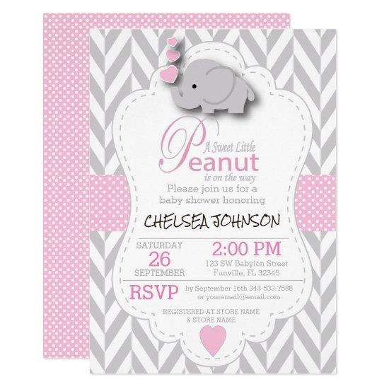 Pink, White Gray Elephant Baby Shower 2 Card