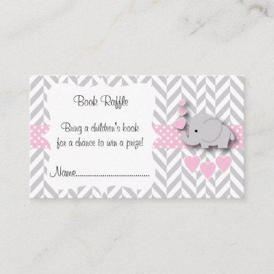 Pink, White Gray Elephant Baby Shower Book Raffle Enclosure Invitations