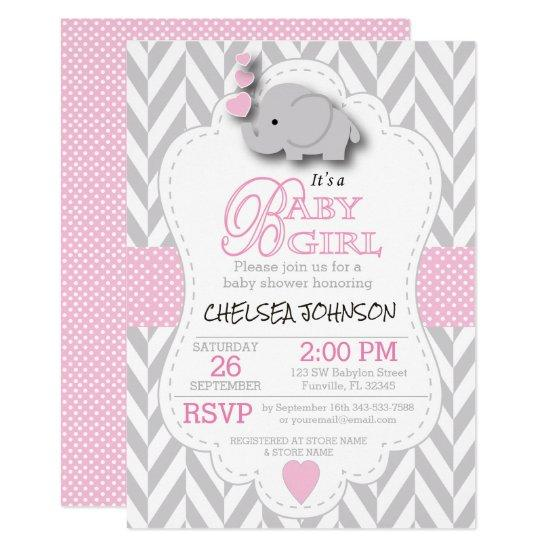 Boho Floral Elephant Invitations Pink Baby Shower. Pink, White Gray Elephant