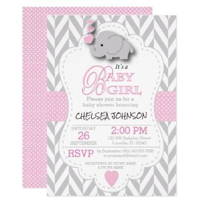 Pink, White Gray Elephant  Baby Shower Invitations
