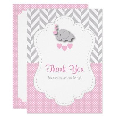 Pink, White Gray Elephant Thank You Invitations