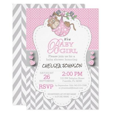 Pink, White Gray Monkey Baby Shower Invitation