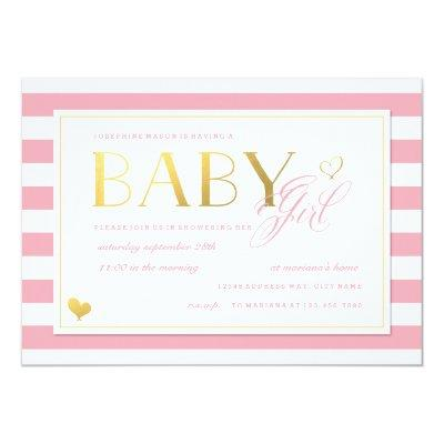 Pink & White Stripe Baby Girl Shower with Gold Invitations