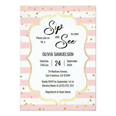 Pink White Stripes Gold Black BABY SIP and SEE Invitations